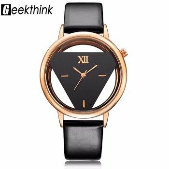 717bab9841ff GEEKTHINK Hollow serie lujo marca reloj de cuarzo mujeres damas vestido  Casual correa de cuero reloj mujer niñas tendencia