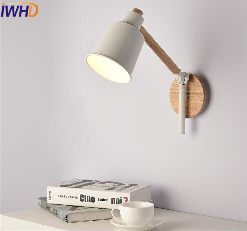 IWHD Wood Led Wall Lamp Light Fixtures Modern Adjustable Long Arm Sconce Wall Lights For Home Lighting Bedroom Aplik Lamba modern led bathroom light stainless steel led mirror lamp dresser cabinet waterproof sconce indoor home wall lighting fixtures