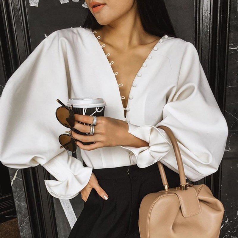 2b45c59b Detail Feedback Questions about European Autumn High Quality Runway Tops  2019 Sexy Vintage V neck Buttons Flare Sleeve White Blouse Women on  Aliexpress.com ...