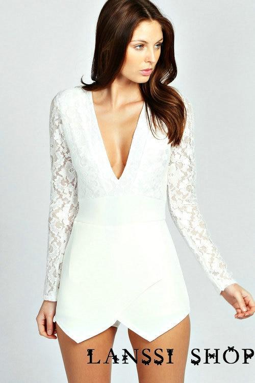 ac12916b87c Fashion Long Lace Sleeves V Neck White  Black Ladies Rompers Suit Shorts M  XL W01115 on Aliexpress.com