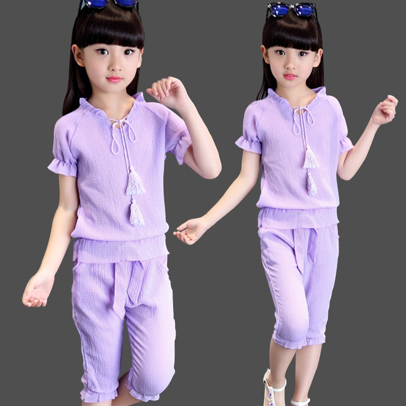 Girl children Kid Sports suit 2017 girls clothes summer short-sleeved T-shirt+seven pants fashion girl's children's clothing set