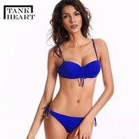 Tank Heart New Solid Plus Size Swimwear Women Swimsuit Micro Bikini Set Push Up Biquini Bathing
