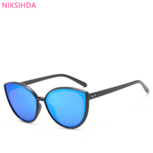 2019 in Europe and the trend of the new m butyl sunglasses fashion lady cat's eye sunglasses personality dazzle colour glasses oumily retro colourful reflective dazzle colour sunglasses golden multicolor