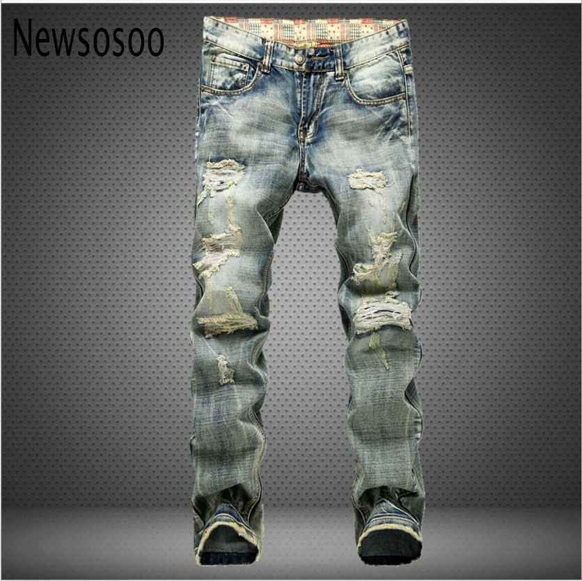 2017 luxury quality Fashion Retro Patch mens Hole Jeans High Quality Men Trousers skinny ripped distressed jeans Denim Pants women lady destroyed ripped jeans distressed hole denim flower pants boyfriend jeans trousers new