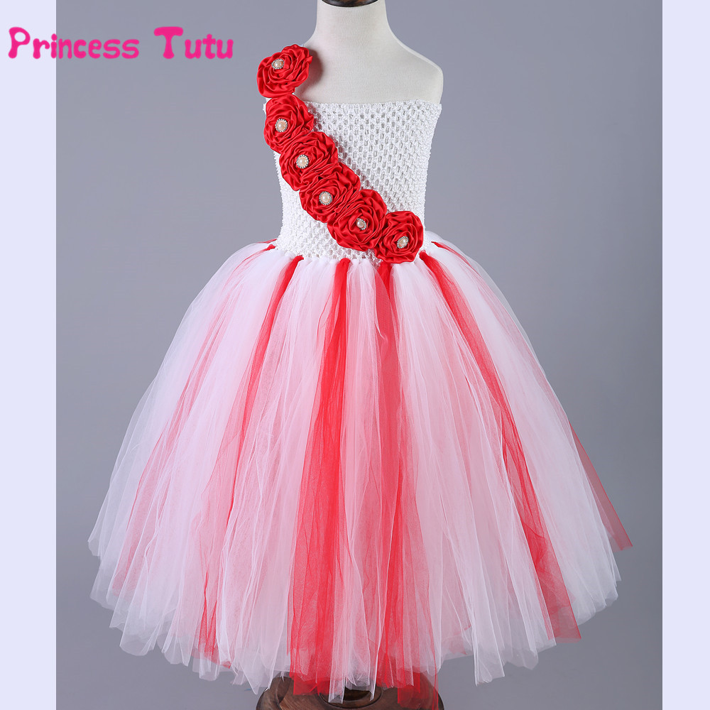 Flower Girl Tutu Dress Princess Christmas Costume Children Birthday Party Pageant Ball Gown Kids Girl Performance Tulle Dresses princess alice inspired tutu dress children knee length character birthday party cosplay tutu dresses kids halloween costume