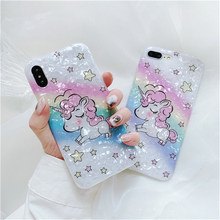 Cute Cartoon Unicorn Phone Case For iphone X Xr XS Max 6 6s 7 8 plus Cover Rainbow Star Fashion Soft Cases Capa