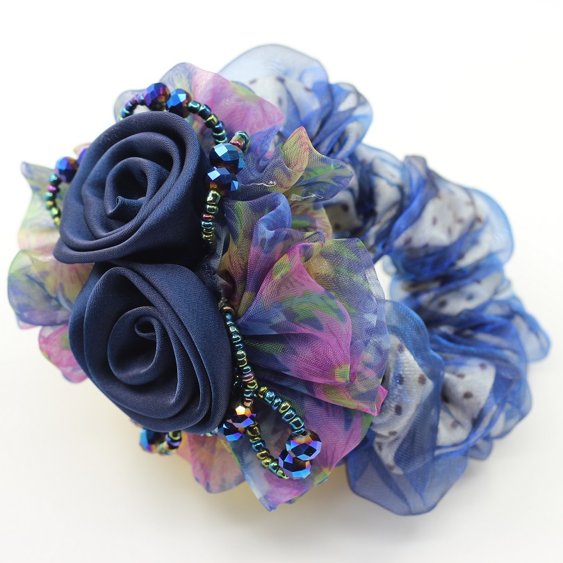 1Piece Chiffon Hair Rope Super Elastic Headbands Floral Ponytail Scrunchie high quality Rose Hair Accessories for girl & women 1piece hair accessories for girl
