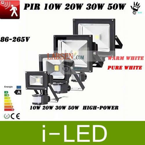 8p/lot Hot Sale 10w 30w 50w 20w New Pir Motion Sensor Led Floodlight Flood Light Induction Sense Lamp 85-265v Floodlights