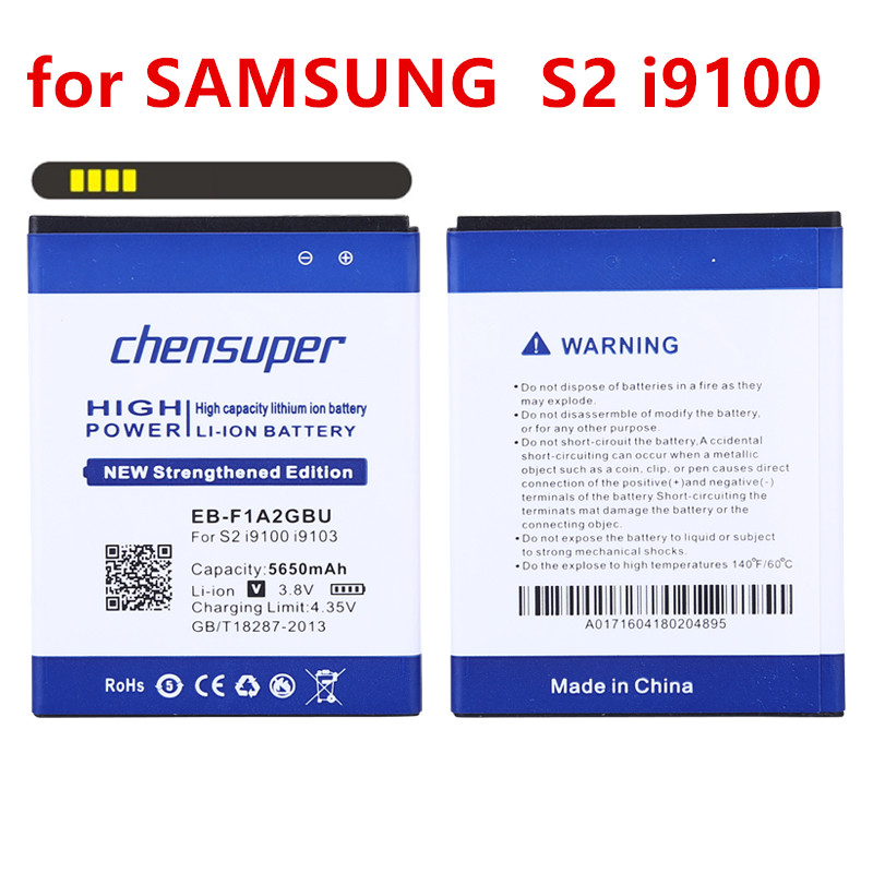 100% Original chensuper 5650mAh EB-F1A2GBU Use for SAMSUNG S2 Battery I9100g I9103 I9105 I9108 I9050 I9188 S II <font><b>I9100</b></font> Battery image