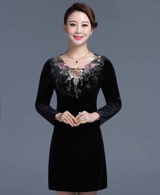 d8140d579e9b 2018 New Autumn Middle aged Women Plus Size Velvet Dress Long Sleeve  Embroidered Print Dresses Elegant Slim Dress Vestidos C46-in Dresses from  Women's ...