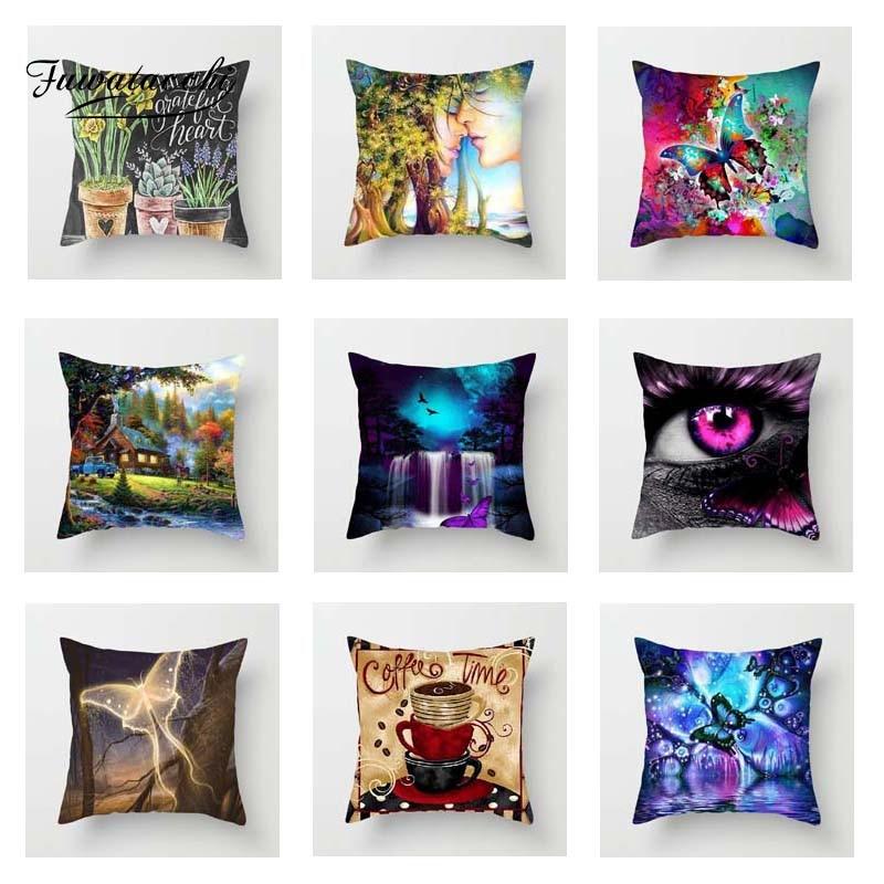 Fuwatacchi Cartoon Plant Cushion Cover Colorful  Soft Throw Pillow Decorative Sofa Case Pillowcase