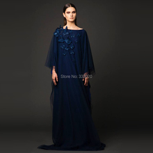 Navy Blue Tulle Dubai Kaftan Long Sleeve Arabic Style Muslim Evening Dress Formal Gown Robe de