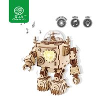 Robud DIY Assembled Wooden Model Building Kits Robot Model with Music Box Toy for Children Adult Gift AM601 for Dropshipping(China)