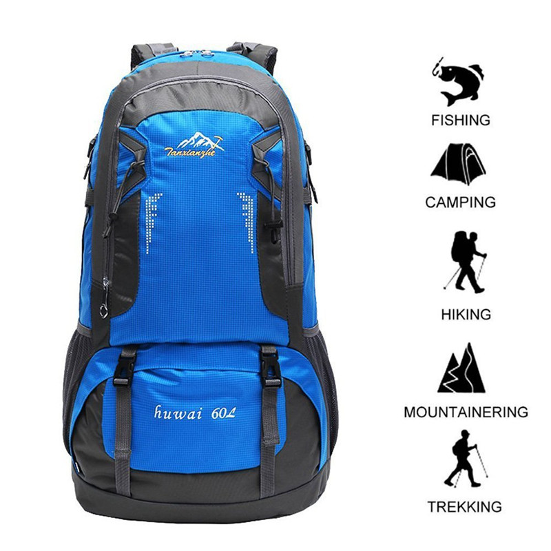 60L Tactical Backpack Waterproof Travel Hiking Backpack Outdoor Cycling Camping Rucksack Climbing Sports Bag Equipment For Men 60l nylon 900d outdoor sports army fans tactical backpack camping cycling hiking climbing rucksack military hunting sports bag