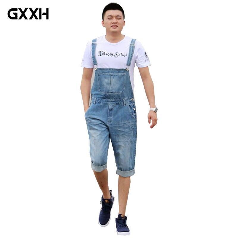 2019 Summer Men's Casual Loose Denim Jumpsuits Overalls Bib Pants Light Blue Cargo Pants Plus Size Gardener Capris Size XS-5XL