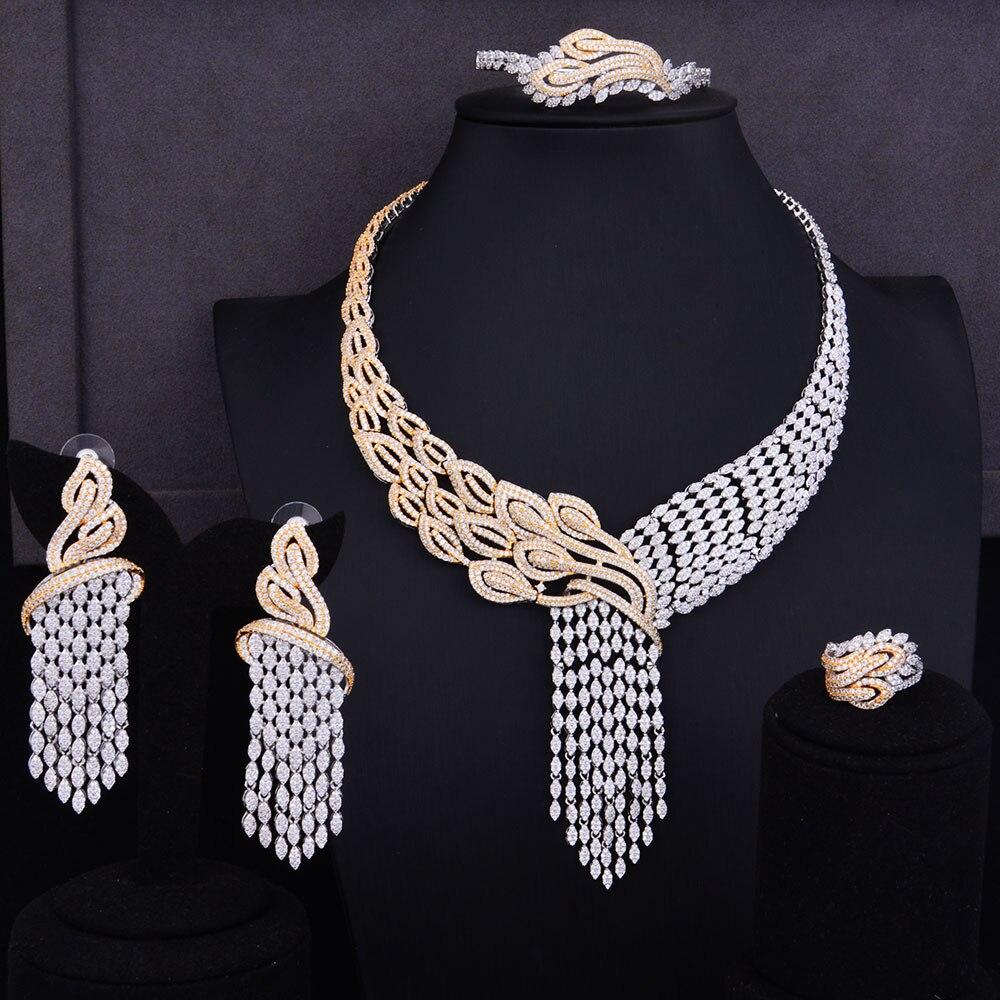 SisCathy 4 pièces De Luxe Glands Femmes Mariage Zircon Cubique Collier/Boucles D'oreille/Bague/Bracelet Bijoux Ensemble Pour Les Femmes Bijoux
