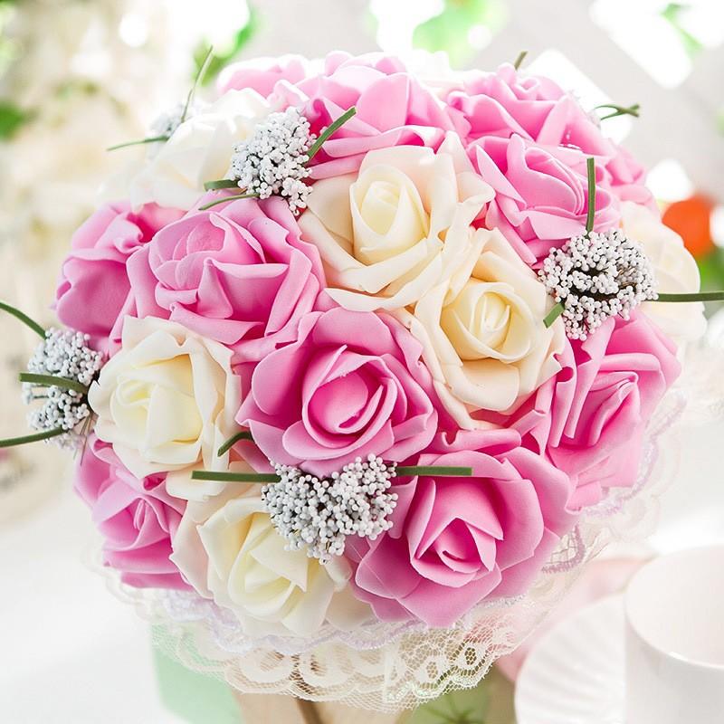 2017 Artificial Rose Wedding Bouquet Bridal Bouquet Bridesmaid bouquet de mariage buques de noivas bruids boeket ramo boda (3)