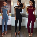 HAOYUAN 2017 Plus Size Rompers Womens Macacão Sexy Clube Bandage Jumpsuit Oco Out Elegante Playsuit Bodysuit Completo Preto Vermelho
