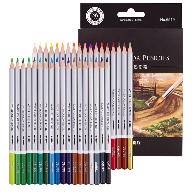 36 Pcs/lot Watercolor Water Soluble Colored Pencils Rainbow Assorted Colors Sketch Coloring Professional Artist Supplies 6519 assorted cartoon pencils 5 pack