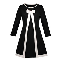Sisjuly Women Vintage Dresses Solid Black And White A Line Knee Length O Neck Bow Elegant