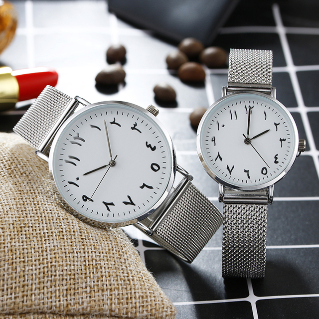 Arabic Numbers dial design women's fashion watch stainless steel Ultra thin silv