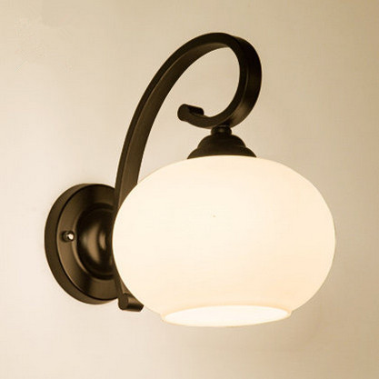 Nordic brief white frosted wall lamps American rural modern E27 LED iron art lamp for bar&balcony&corridor&porch&stairs TM030 full copper lamps and lanterns of american meals hanging lamp act the role ofing porch corridor lamp