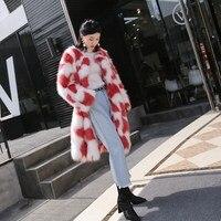 Женщины ''зима искусственный Лисий Мех животных Пальто для будущих мам толстый Обувь на теплом меху верхняя одежда мода Средний Длина Женск...