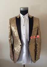 Free ship coffee golden full sequins mens tuxedo jacket stage performance only jacket can customs size