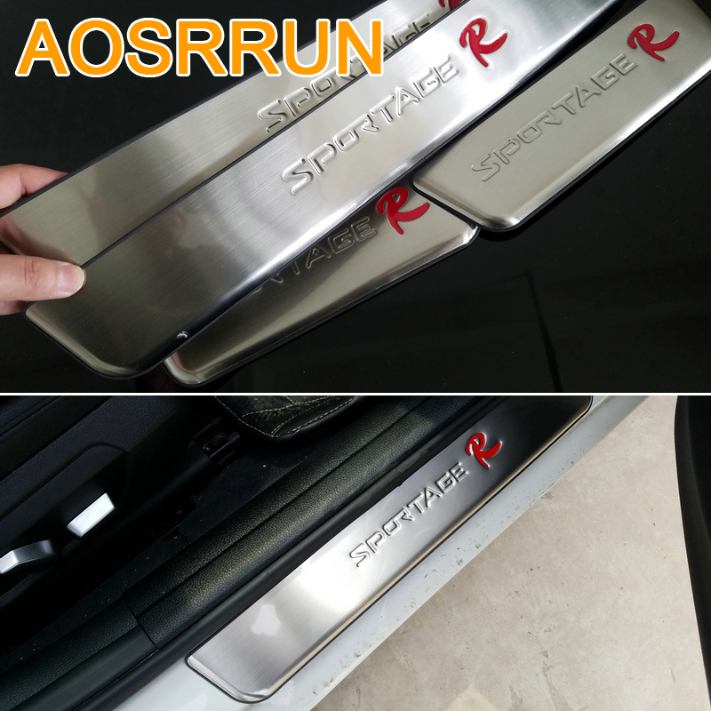 AOSRRUN For Kia Sportage SL 2011-2014 3GEN Stainless Steel Door Sill Scuff Plate car accessories car-styling