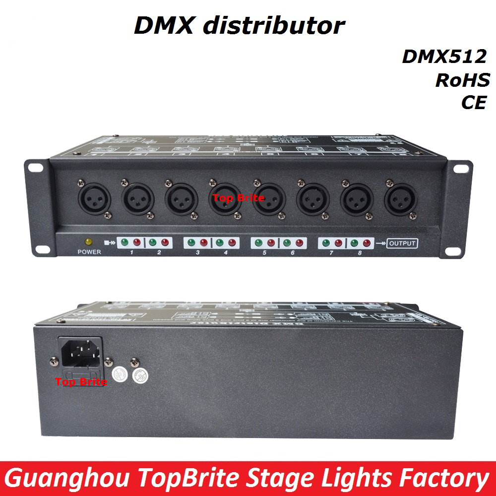 2017 100% New Stage Light Controller DMX512 Splitter Light Signal Amplifier Splitter 8 Way DMX Distributor For Stage Equipments dmx512 digital display 24ch dmx address controller dc5v 24v each ch max 3a 8 groups rgb controller