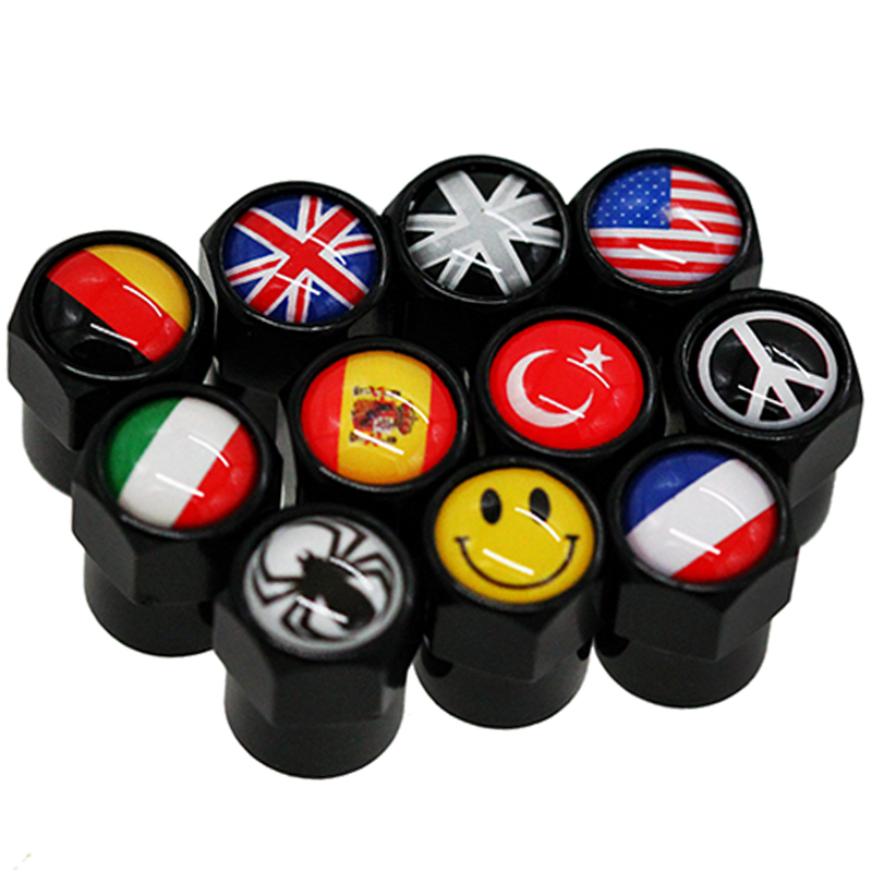 HAUSNN 4Pcs/Set Car Wheel Tire Valve Caps Stem Cover Auto Styling National Flags for VW Suzuki BMW Audi FIAT Mazda Toyota page flags green 50 flags dispenser 2 dispensers pack