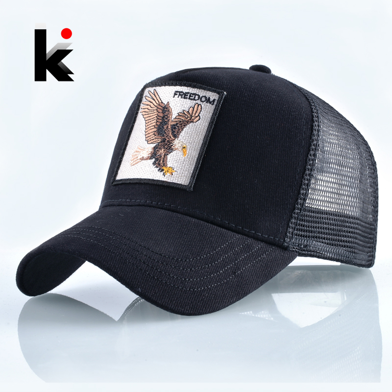 Fashion Animals Embroidery Baseball Caps Men Women Snapback Hip Hop Hat Summer Breathable Mesh Sun Gorras Unisex Streetwear Bone(China)