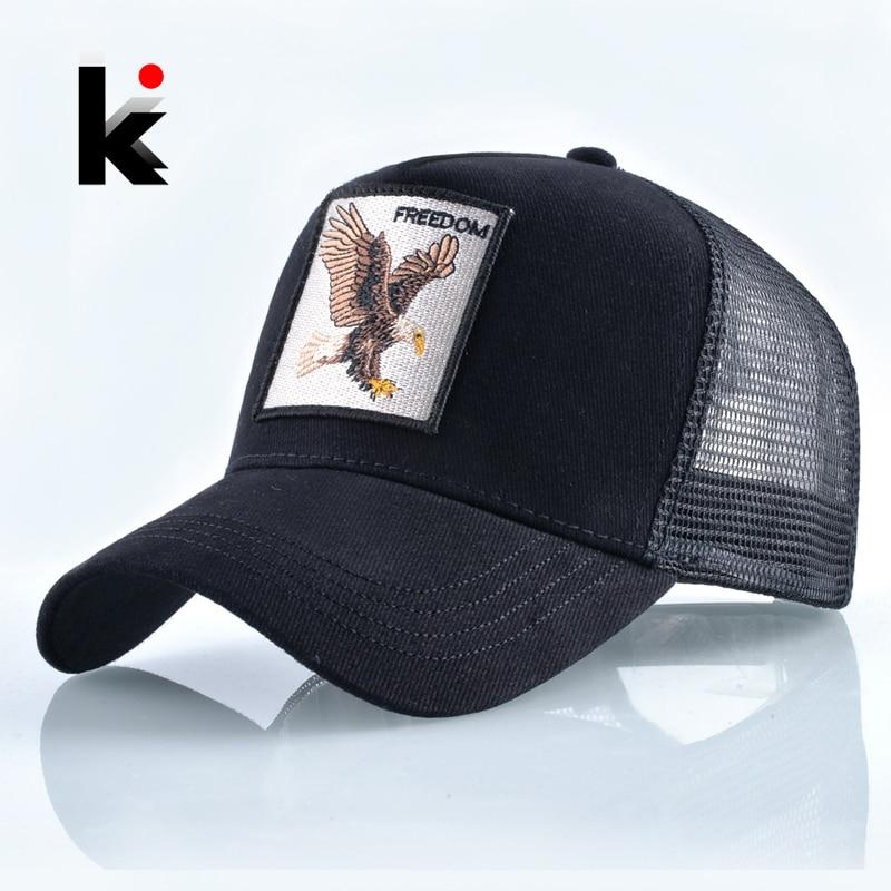 Moda animales bordado Gorras de béisbol de las mujeres de los hombres Snapback Hip Hop sombrero de malla transpirable sol Gorras Unisex Streetwear hueso
