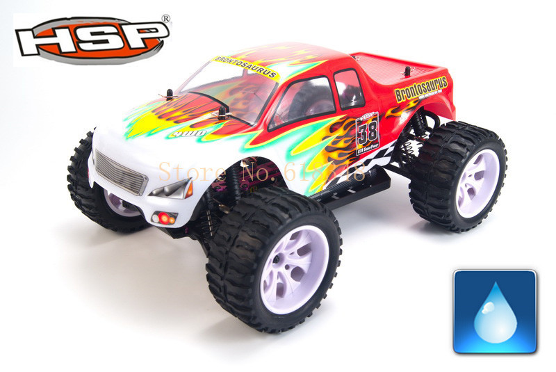 Gift HSP Baja 94111 4WD 1/10th Off Road Monster Truck Brontosaurus RC Hobby Car with 2.4G Ghz Radio Control Model 02023 clutch bell double gears 19t 24t for rc hsp 1 10th 4wd on road off road car truck silver