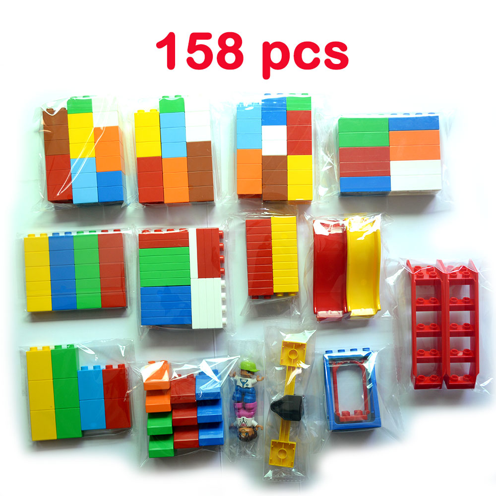 GOROCK Big Size Bricks 158pcs Set City DIY Creative Toys Child Educational Building Block Bricks Compatible LegoINGlys Duploe
