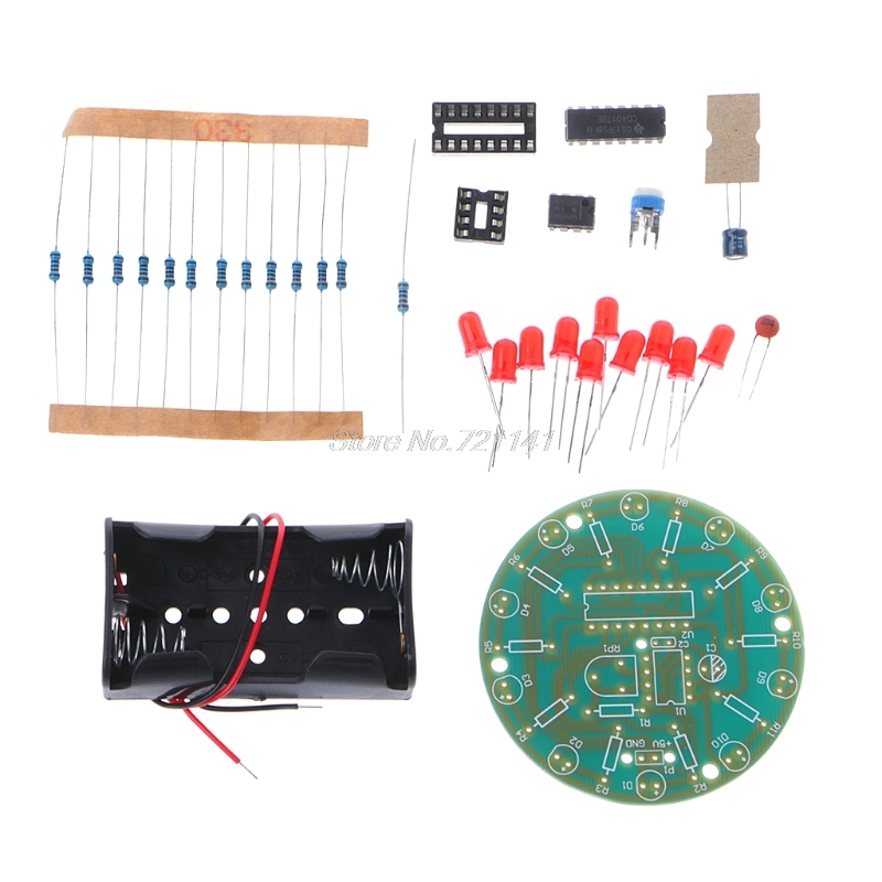 Electronics 4017 Running Water Light DIY Kit NE555 LED Horse Race Lamp Training Oct18