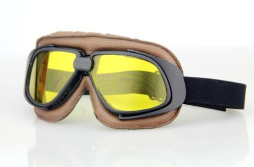 68307667d5d8 New discount Goggles cross-country Pilot Cruiser Motorcycle Bike Tactical  Aviator Goggles Brown Frame Black Strap Yellow Lens