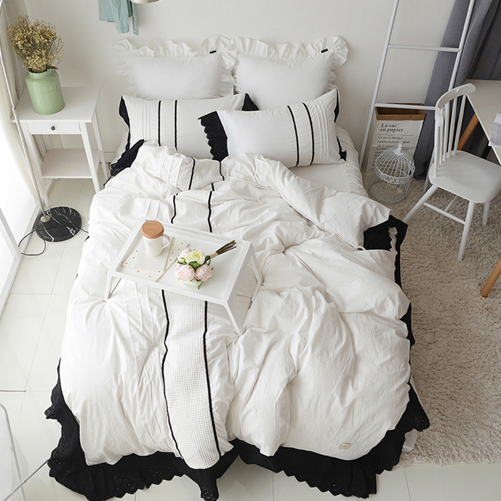 Blue and white bedding - Korean Princess Style Lace Bed Skirt Stripes Washed Cotton Duvet Cover Bed Sheet Set Pink