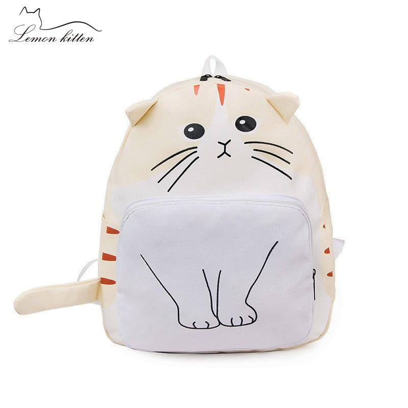 Funny Cartoon Cat Women Backpack Canvas Cute Cat Backpack Female Student Girl Schoolbag Rucksack Mochila Bagpack