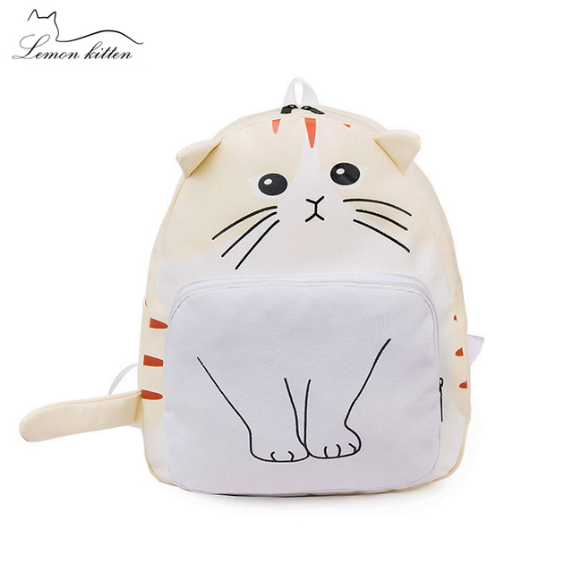 2018 Funny Cartoon Cat Women Backpack Canvas Cute Cat Backpack Female  Student Girl Schoolbag Rucksack Mochila a362a5ff34f40