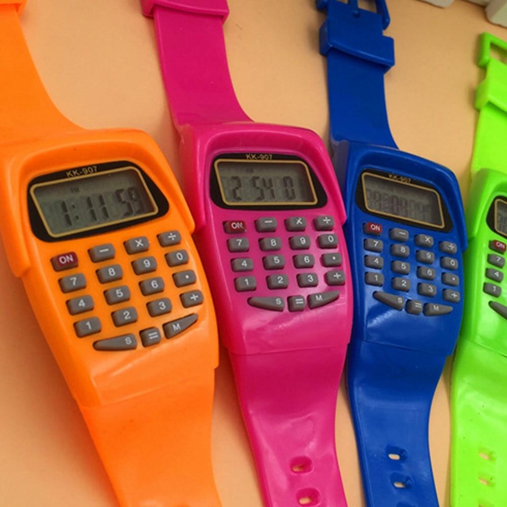 NOYOKERE расчета цифровой калькулятор со светодио дный часы Функция повседневное силиконовые спортивные для детей Multi функция