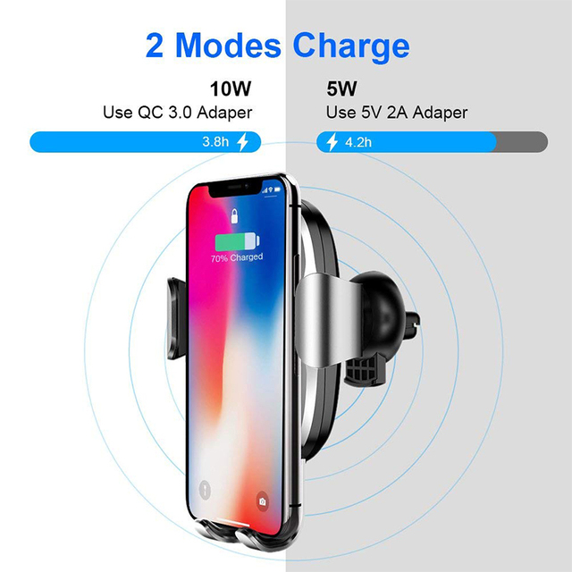 Baseus Qi Car Wireless Charger For iPhone 8 X XS Max XR Samsung Mobile Phone Charger 10W Fast Wireless Car Charging Mount Holder 2