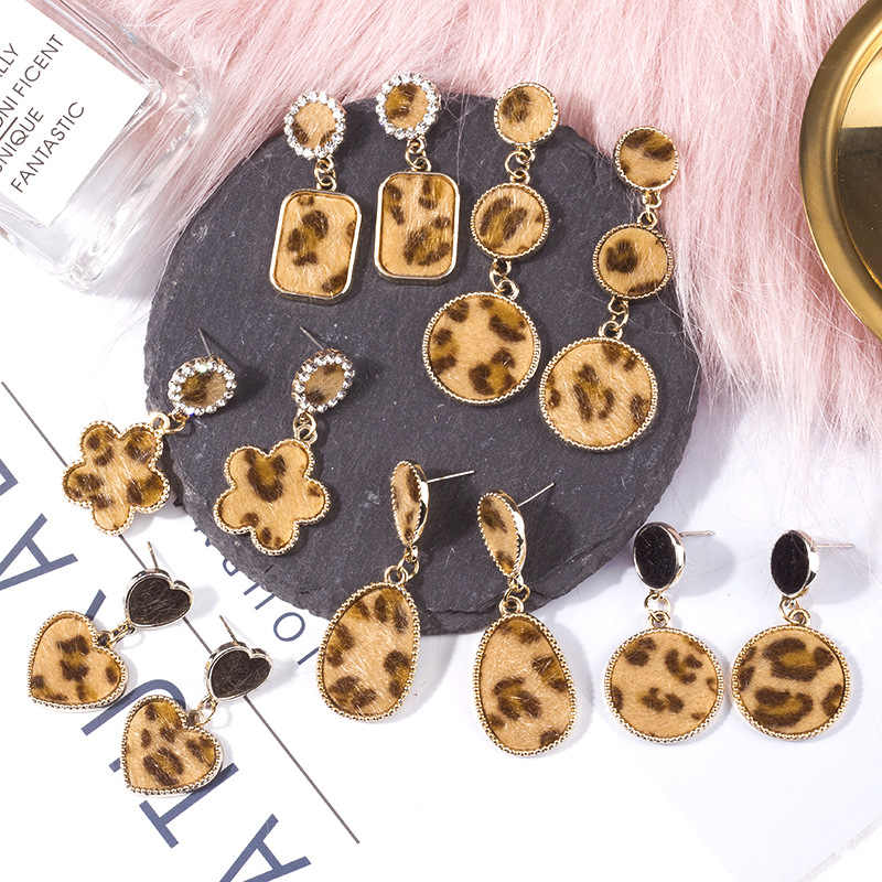 Hot New Korean Leopard Print Flower Sweet Heart Geometric Round Square Drop Earrings For Women Bridal Jewelry Pendientes Brincos