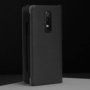 Image 2 - Oneplus 6 T Case Flip Smart Leather Cover Originele Officiële Een Plus 6 6 T Slaap Wake Up Card Slot telefoon Gevallen Oneplus6 Terug Capa