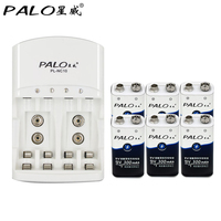 PALO 6pcs 9v Rechargeable Battery 300mAh 9V Nimh Battery 9 Volt Battery Dedicated 2 Slots 9v