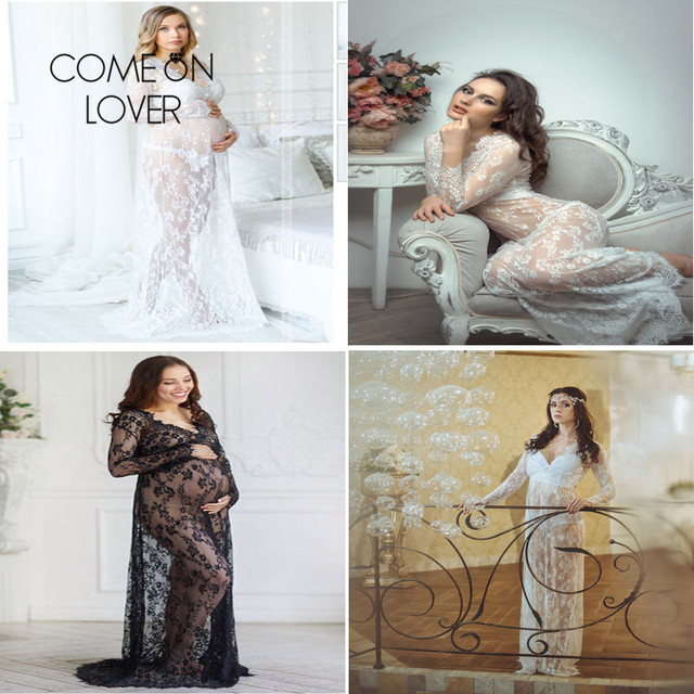 Comeonlover Plus Size Black White Long Sleepwear Lace Gown See Through Sheer Long Sleeve Lace Nightgowns Vestidos Sexys Eroticos 5