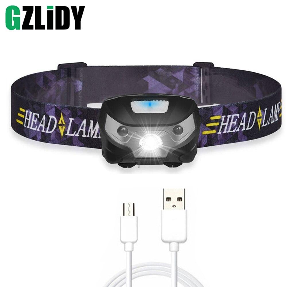 3000LM Mini recargable LED faro cuerpo Sensor de movimiento LED bicicleta cabeza luz lámpara linterna de Camping al aire libre con USB