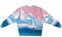 Echt AMERIKANISCHE UNS Größe snow mountain 3D sublimationsdruck Crewneck Sweatshirt fleece streetwear plus größe