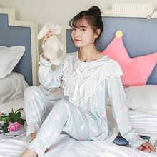 2019 new Ladies pajamas set cotton long sleeve cute princess Korean pullover spring and autumn womens household clothing