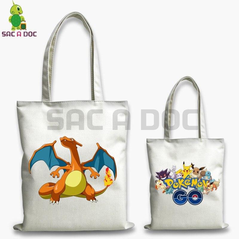 Pokemon Charmander Charizard Canvas Handbag Double Side Shoulder Bags Zipper Ping Bag Women Men Casual Tote Handbags On Aliexpress Alibaba Group